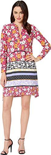 Taylor Dresses Women's Long Sleeve Mixed Floral Print Shirt Dress, Pink, 4