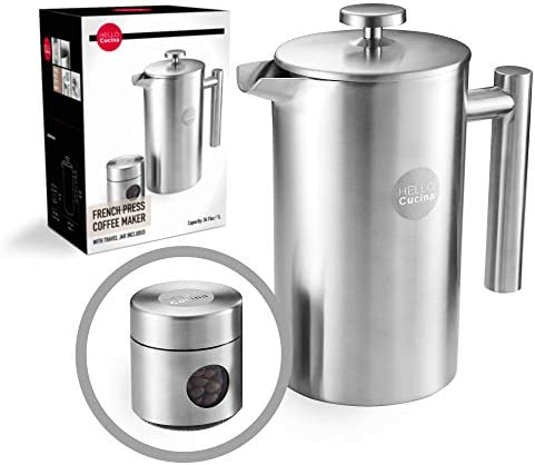Hello Cucina French Press Coffee Maker - 34 Oz Coffee Cold Brewer - Top Quality Stainless Steel Press with Companion Glass Portable Stainless Steel Travel Jar - A Kitchen - Camping Essential 1-Pack