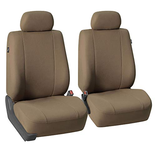 FH Group FH-FB052102 Pair Set Multifunctional Flat Cloth Bucket Seat Covers, Airbag compatible Taupe Color - Fit Most Car, Truck, Suv, or Van (Volvo 240 Seat Covers)