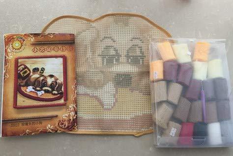 Sunny DIY Crochet Yarn Kits, 18.89''X14.56'', Needlework Kit DIY Crocheting Rug Yarn Cushion Embroidery Set, Little Bear with Flowers