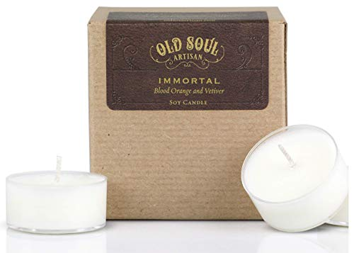 Immortal - Blood Orange and Vetiver Tea Light Candle Vampire Book Lover Folklore Mythology Soy - - 0.5 Blade Ounce