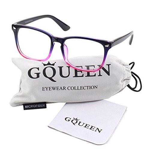 GQUEEN 201582 Large Oversized Frame Horn Rimmed Clear Lens Glasses,Bule