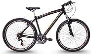 Bicicleta Aro 29 Black Preta e Laranja Aço 21v MTB Aero V-Brake, Track Bikes