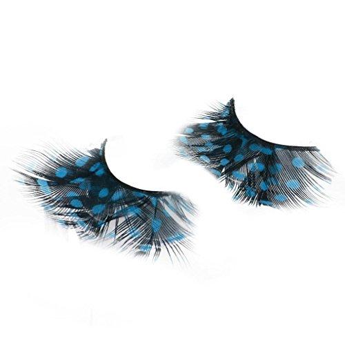 False Eyelashes Party Makeup - Colorful False Eyelashes Long Feather polka dot Eyelashes Costume Cosplay Stage Makeup (Blue sky)