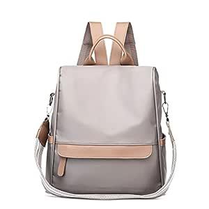 Kingrock Anti-Theft Women Waterproof Nylon Backpack Travel Rucksack Shoulder Bag (Light Gray)