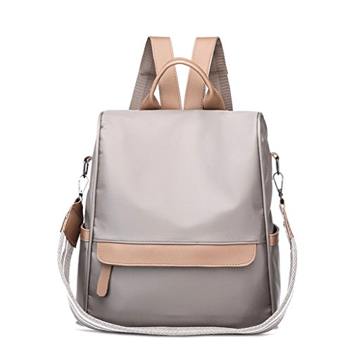 GUBENM Backpack Women Solid Color Nylon Backpack, Quality Schoolbag for Teenagers Student, Anti-theft Rucksack for Female Travel, Teens Girls Boys Softback Shoulder Bag Light Gray