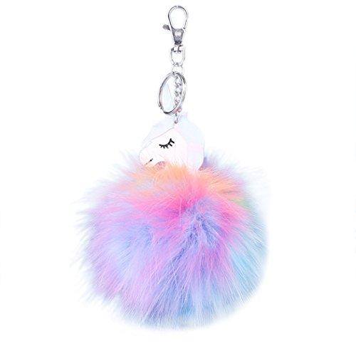 Raylans Faux Rabbit Fur Unicorns Shape Keychain Pompom Car Bag Phone Pendant Key Ring
