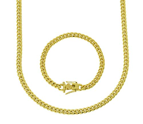 Bling Bling NY Solid 14k Yellow Gold Finish Stainless Steel 6mm Thick Miami Cuban Link Chain/Bracelet Box Clasp Lock