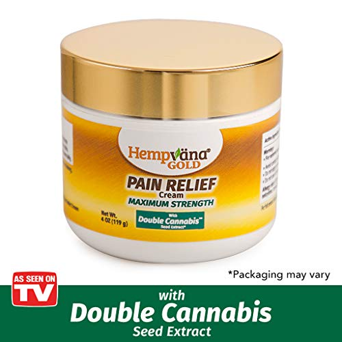 As Seen On TV Hempvana Gold Pain Cream with Hemp Seed Extract Relieves Inflammation, Muscle, Joint, Back, Knee, Nerves & Arthritis Pain Made in USA 4oz Phthalate Free, Paraben Free, Vegan