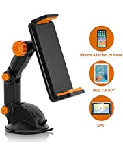MaxTeck 360° Rotation Car Phone Mount, Dashboard/Windscreen Sticky Suction Pad Car Mount Phone Holder, Suitable for Cell Phones, Navigators and Mini Tablets with 4-9.7 inch Width