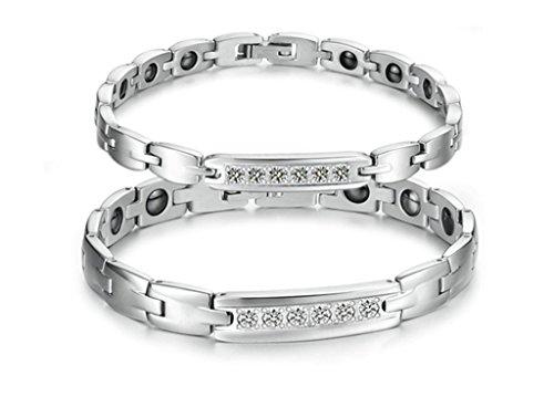 Daesar His & Hers Bracelet Set Stainless Steel Silver Cubic Zirconia Magetic Stone Bracelet Pave