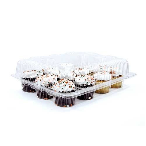 12-Compartment Cupcake Container with Hinged Lid, Clear (100, 12- Compartment) by The Bakers Pantry (Image #3)