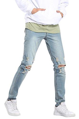 OKilr Pjik Men's Casual Stretch Skinny Vintage Distressed Ripped Denim Jeans Wash Blue - Face Out Work Shape