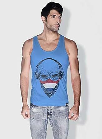 Creo Holland Skull Tanks Tops For Men - S, Blue