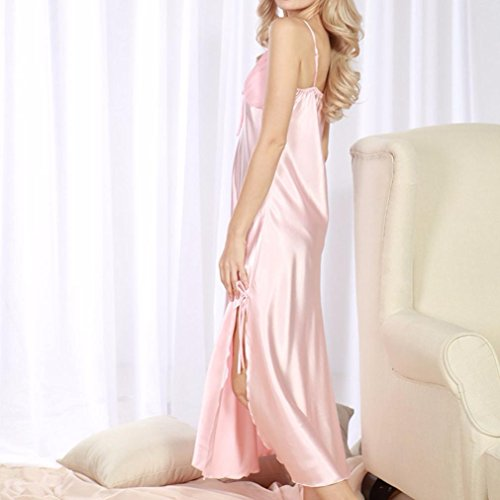 Lingerie Nightdress Hibote Ladies Donna notte Satin Sleepwear Rosso Camicia Rubber Silk Faux da Long Lace S8aB8q