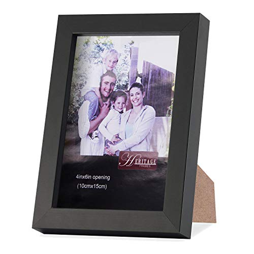 Anglink Picture Frame 4x6 Black Made of MDF and High Definition Glass for Tabletop Display and Wall Mounting Photo Frames