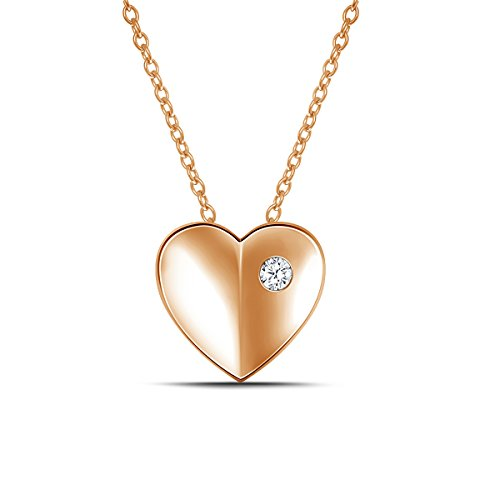 EternalDia 925 Silver Burnished Diamond Puffed Heart Pendant Necklace (0.05cttw,IJ/I2-I3) 18