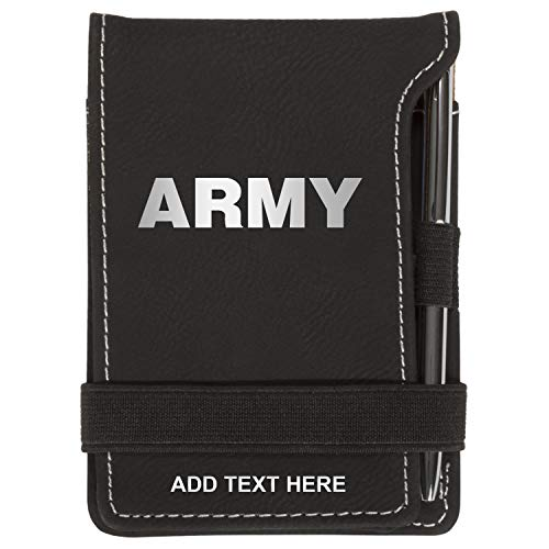 (Personalized Army Military Text Mini Notepad Holder Set for Business Professionals - Pocket Memo Pad Book Cover - Includes Mini Note Pad and Pen to Jot Notes and Writing To Do List, Black & Silver )