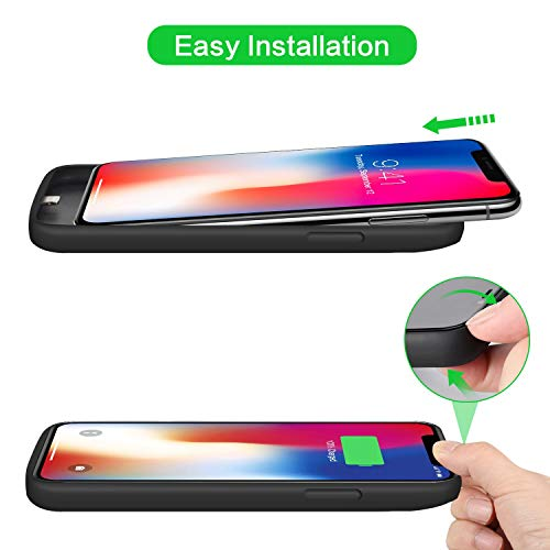 Battery Case for iPhone X/Xs, [6500mAh] Xooparc Protective Portable Charging Case Rechargeable Extended Battery Pack for Apple iPhone Xs&X (5.8') Backup Power Bank Cover - Black by Xooparc (Image #4)