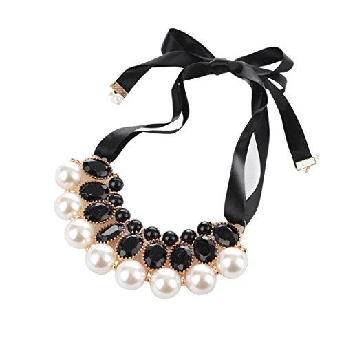 Boyshort Ribbon - Hunputa Womens' Summer Pearl Diamond Beads Bowknot Choker Necklace Jewelry Beauty Ribbon Clavicle Chain (Black)