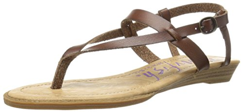 Blowfish Women's Berg Wedge Sandal, Whiskey Dyecut, 6.5 M US