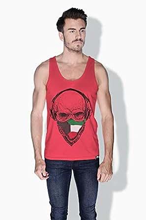 Creo Kuwait Skull Tanks Tops For Men - S, Pink