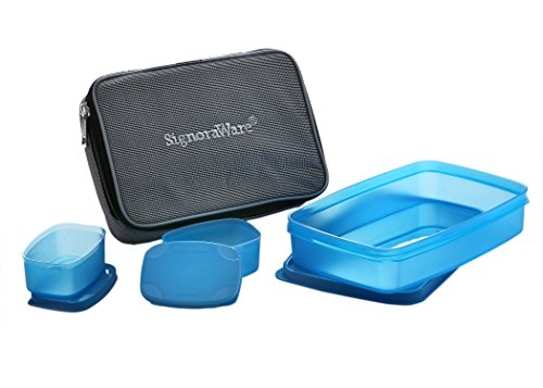 Signoraware Compact Lunch Box with Bag, T Blue