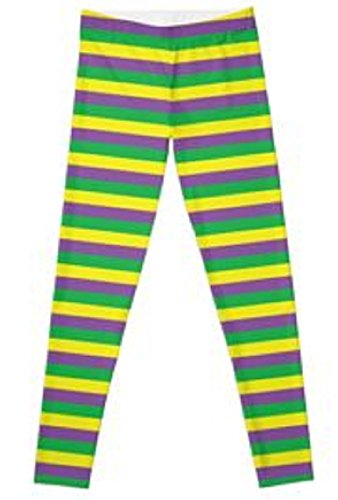 [Mardi Gras Striped Leggings ONE SIZE FITS MOST 82 % Polyester 18 % Elastane] (Striped Leggings Costumes)