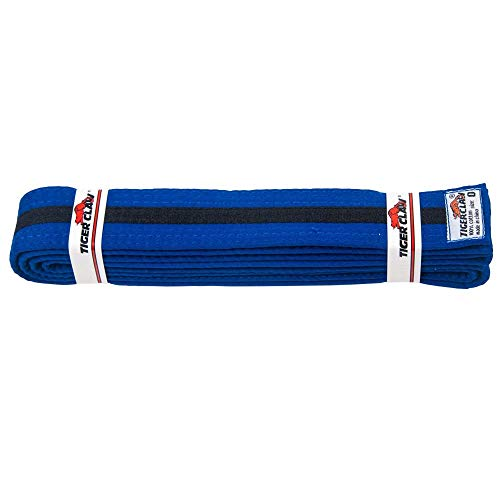 Tiger Claw 100% Cotton Martial Arts Uniform Belt - Solid Color with Black Striped (Blue with Black Stripe, 3) ()