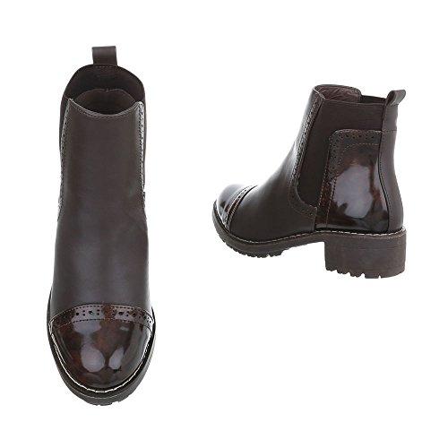Ital-Design Chelsea Boots Damenschuhe Chelsea Boots Blockabsatz Moderne Stiefeletten Dunkelbraun K-1-1