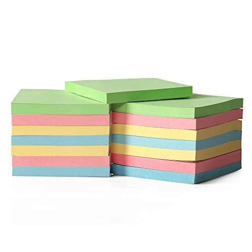 15-Pack Candy Color Sticky Notes for Home & Office, 80 Leaves/pad Sticky Notes, Stickies for Memos, 0.7cm Thick Office Notepads, 7.5 x 7.7cm Self Stick Notes, Colorful Post It Notes for School by California Basics