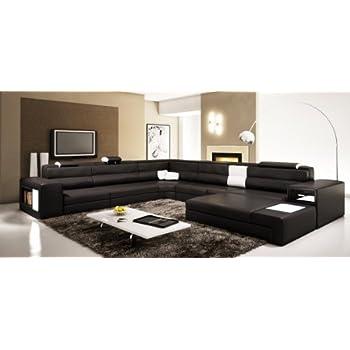 VIG Furniture VGEV5022 BND BLK Divani Casa Polaris   Contemporary Bonded  Leather Sectional