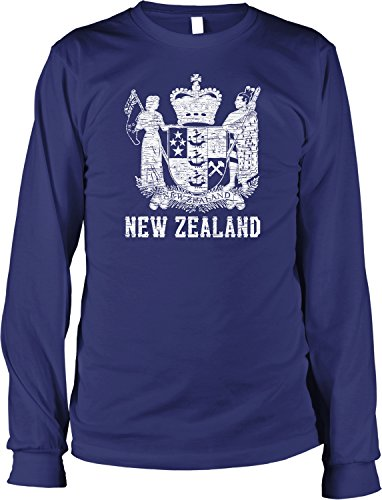 Hoodteez New Zealand Coat of Arms, St. Edward's Crown Men's Long Sleeve Shirt, L ()