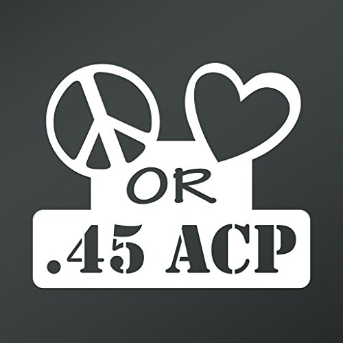 Price comparison product image Peace Love or .45 ACP Vinyl Decal Sticker | Cars Trucks Vans Walls Laptops Cups | White | 5.5 X 4.5 Inch | KCD1653