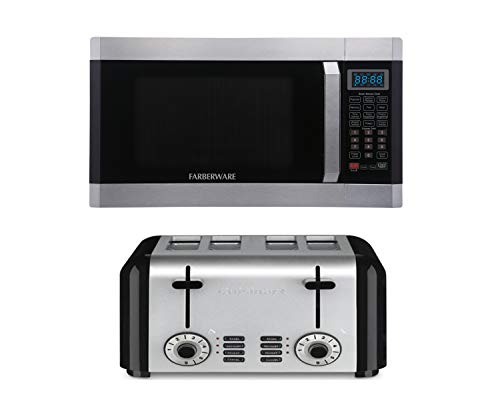 Farberware 1.6 CU ft 1100-Watt Microwave with Smart Sensor, Stainless Steel bundle with Cuisinart Hybrid Stainless 4-Slice Toaster, Brushed Stainless