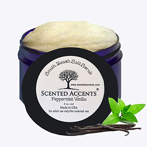 Scented Accents South Beach Ocean Salt Scrub Peppermint Vanilla All Natural Gentle Skin Softening Body Scrub, Body Polish, Foot Scrub Infused with Real Peppermint Essential Oil Fresh-made Vegan