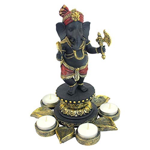 (Design Toscano Standing Lord Ganesha on Lotus Flower Hindu Elephant God Statue Candle Holder, 10 Inch, Black, Red and Gold)