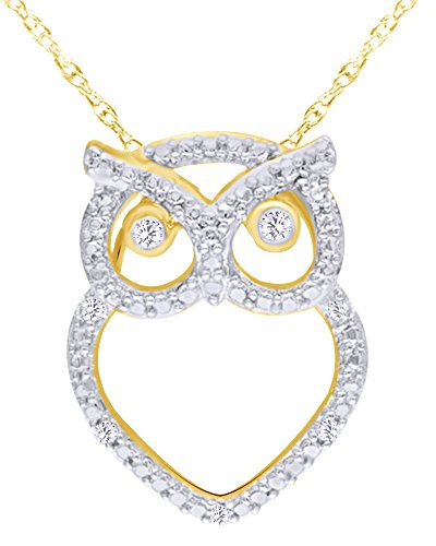 wishrocks Mothers Gift Round Cut White Natural Diamond Accent Owl Pendant Necklace in 14K Yellow Gold Over Sterling Silver