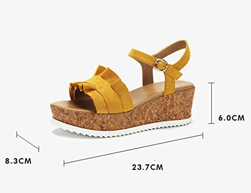Ensfarget Størrelse Yelloe Sandaler Tå Ord Casual 36 Sommer farge Plattform Zcjb Åpen Grønn Sko Bandet Kapper qOw8BO