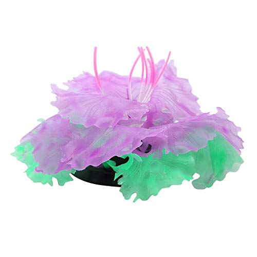 FTVOGUE Fluorescent Emulation Coral Artificial Soft Silicone Tree Plant Fish Tank Aquarium Terrariums Decor Ornament(Purple)