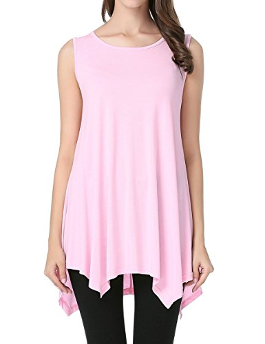 JollieLovin Womens Plus Size Loose-fit Sleeveless T-Shirt Tank Tunic Top(L, Pink)