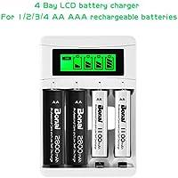 BONAI 8 Piezas de AA 2800mAh Ni-MH Baterías Recargables con 4 Bay AA AAA Cargador de Batería