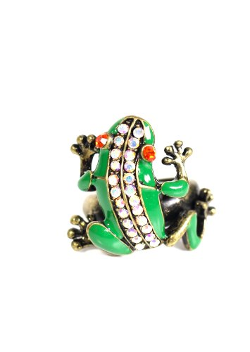 Magic Metal Crystal Tree Frog Ring Gold RI16 Rainforest Animal Green Jungle Toad Fashion Jewelry