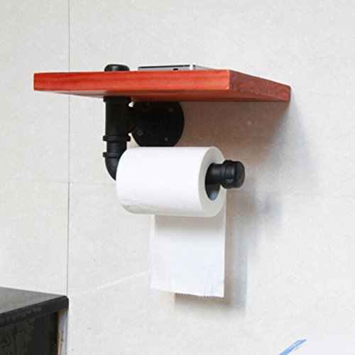 rustic toilet paper towel holder with wall mounted industrial wood bathroom shelf metal pipe. Black Bedroom Furniture Sets. Home Design Ideas
