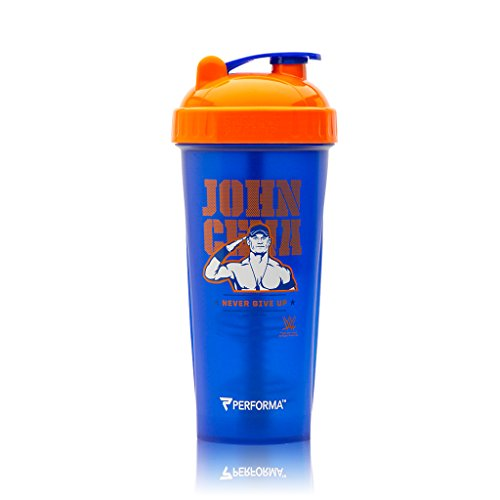 Superstar Cena John - Performa Perfect Shaker - WWE Legends Series, Best Leak Free Bottle with Actionrod Mixing Technology for Your Sports & Fitness Needs! Dishwasher and Shatter Proof (John Cena Blue)
