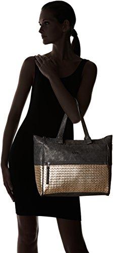 LPB Woman W16b1001 - Bolso de asas de Cuero para mujer talla única Negro (Noir)