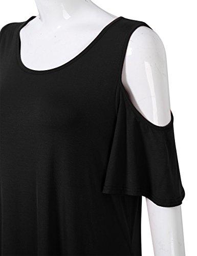 Shift Cold Shoulder Tent Casual PLUS Plus AMZ With Dress Drape Women Size Pockets Black qcpaXAzWw