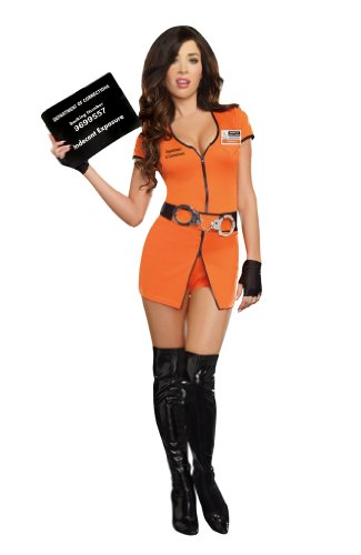 Women Prisoner Costume (Dreamgirl Women's Locked Up Costume, Orange, X-Large)