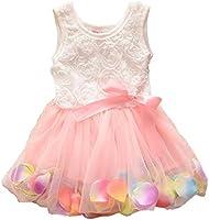 Baby Girls Bowknot Striped Tutu Dress Party Lace Ruffled T-shirt Skirt (0-12 Months, Pink)