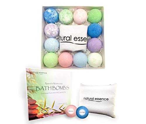 - Natural Essence Bath Bombs and Pillow Gift Set, 12 Bath Fizzies and Bath Pillow